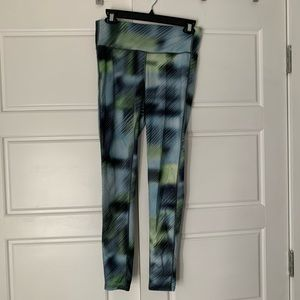 Athleta blue and green patterned tights leggings